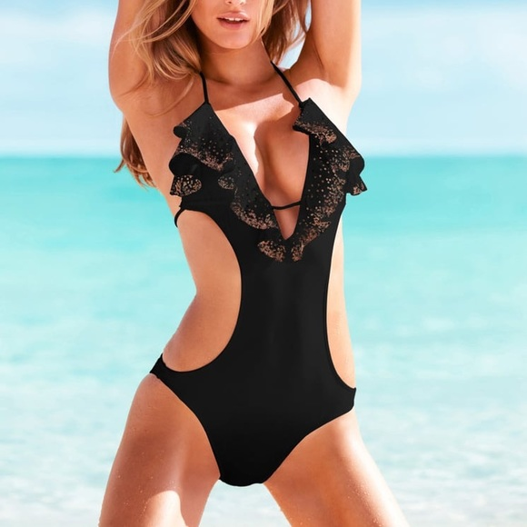 Victoria's Secret Other - Victoria's Secret black one piece with gold sequin